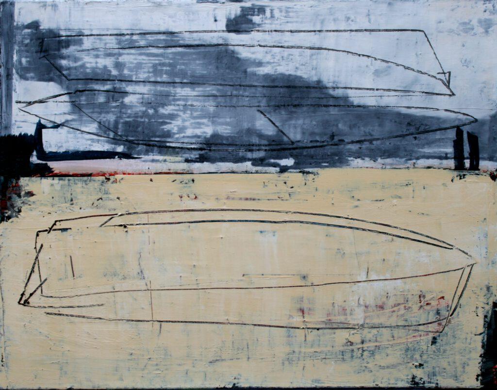 zwei/drei/boote   Acryl   70 x 90 cm   2011