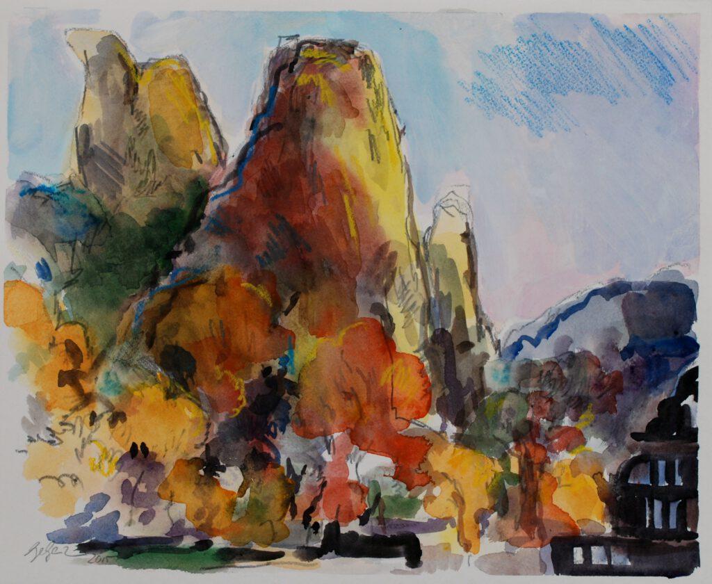 Rheingrafenstein | Aquarell | 40 x 32 cm | 2015