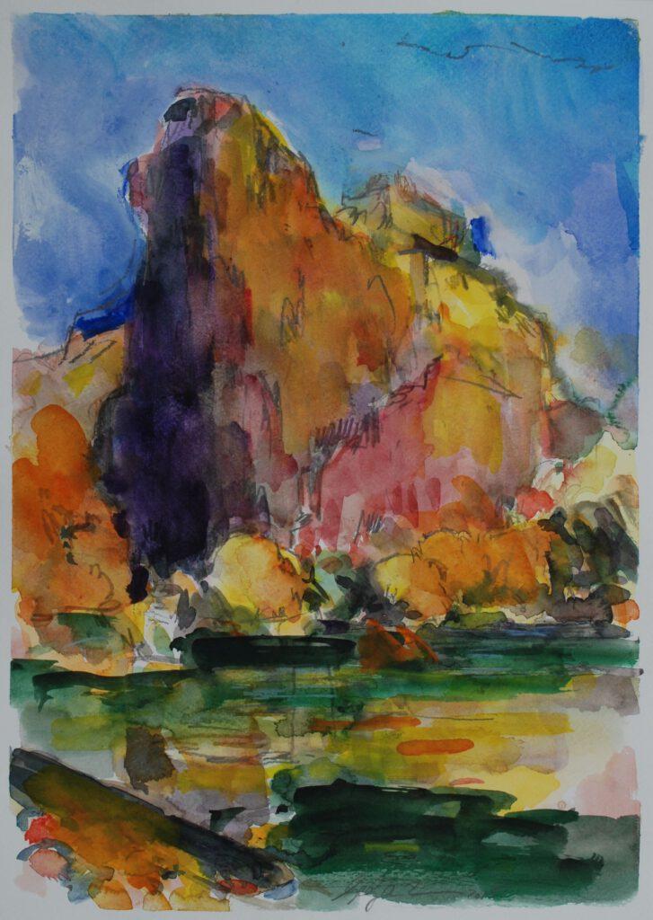 Rheingrafenstein | Aquarell | 32 x 40 cm | 2015