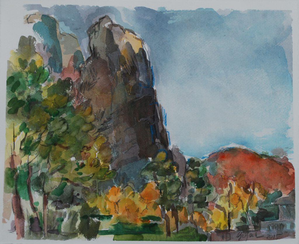Rheingrafenstein | Aquarell | 40 x32 cm | 2015