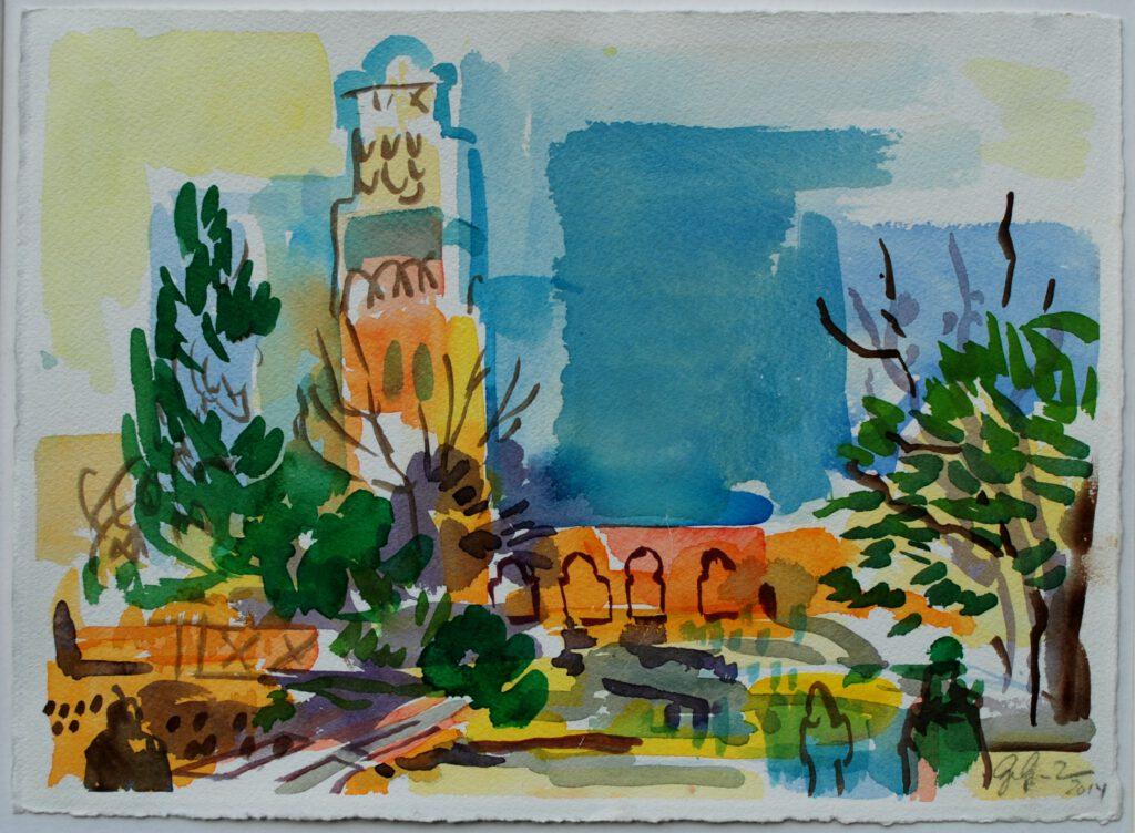 Koutoubia-Moschee | Aquarell | 24 x 32 cm | 2014