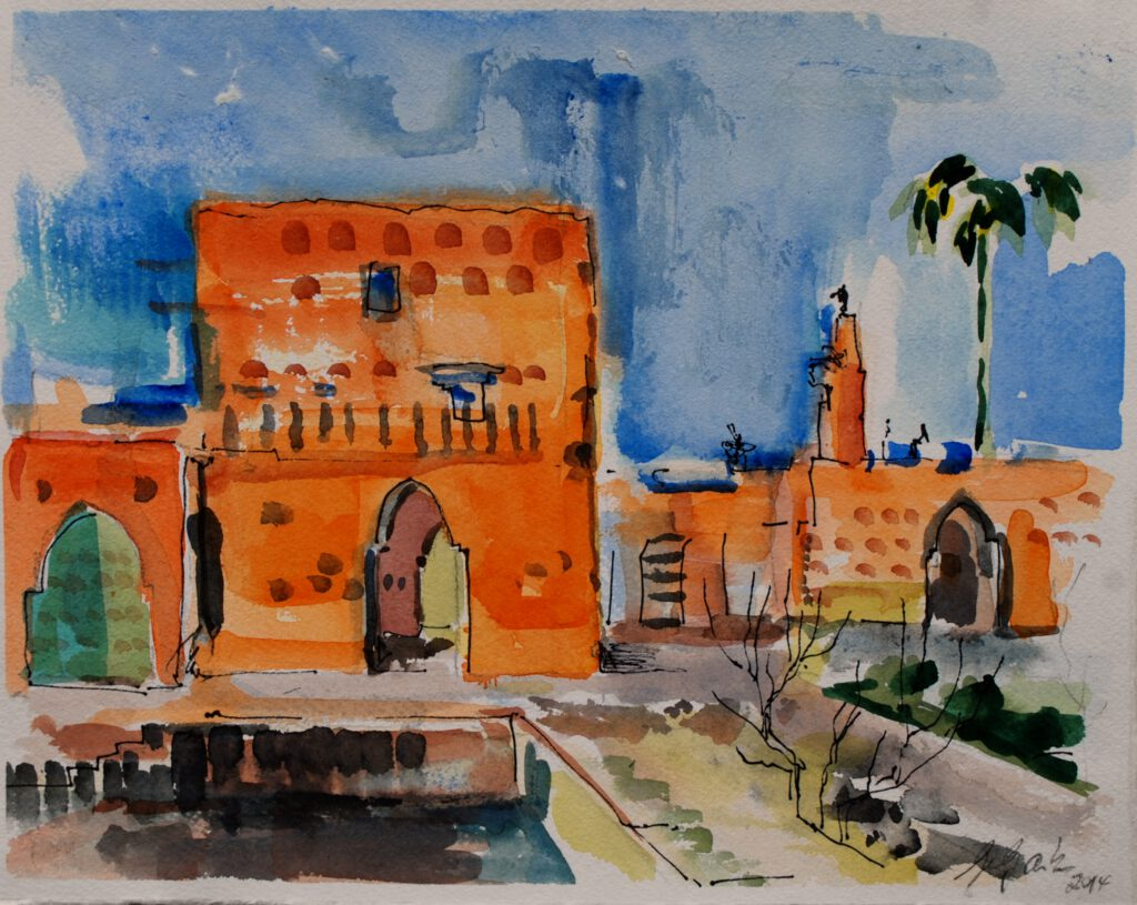 Palais El Badi | Aquarell | 24 x 32 cm | 2014