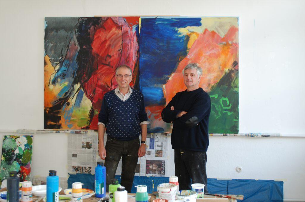 Georg Gartz | Pete Clarke im Atelier im Künstlerbahnhof Ebernburg | 2015